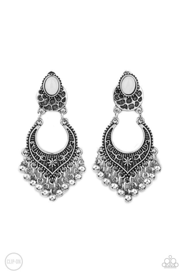 Summery Gardens - White - Paparazzi Earring Image