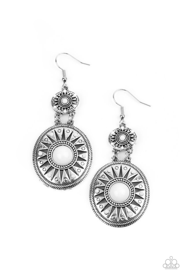 Temple of The Sun - White - Paparazzi Earring Image