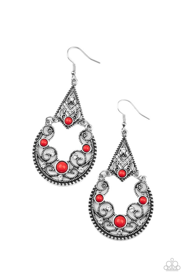 Bohemian Ball - Red - Paparazzi Earring Image