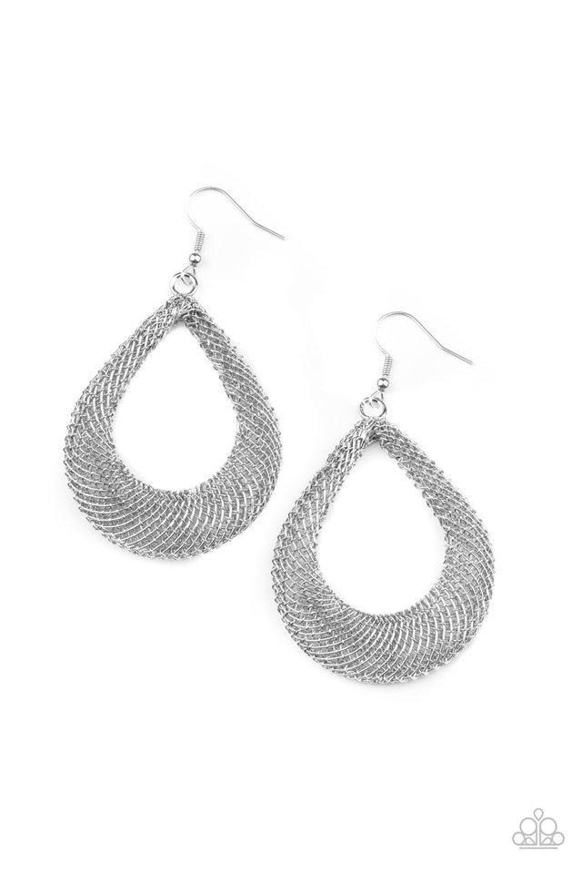 A Hot MESH - Silver - Paparazzi Earring Image