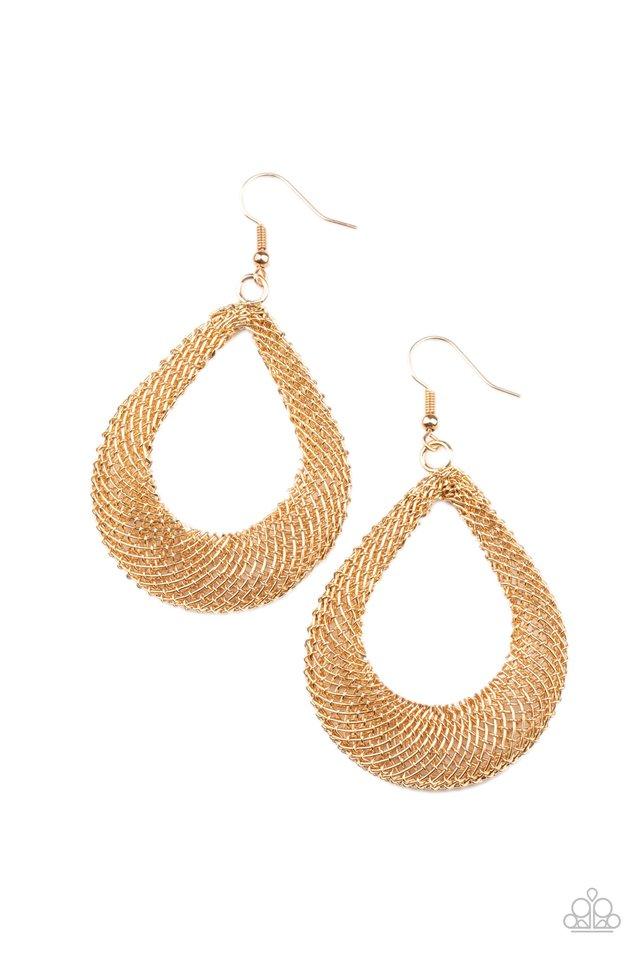 A Hot MESH - Gold - Paparazzi Earring Image