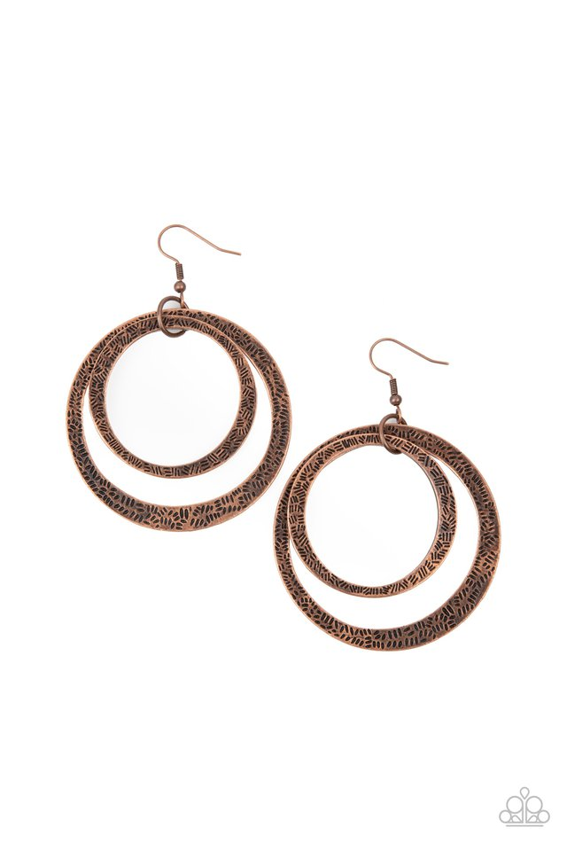 Rounded Out - Copper - Paparazzi Earring Image