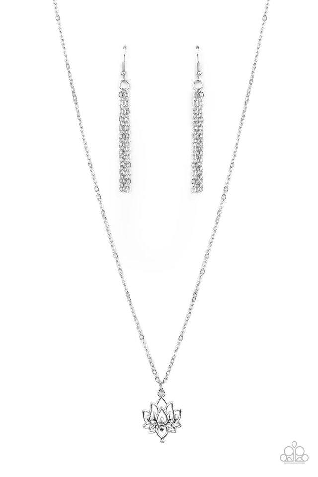 Lotus Retreat - Silver - Paparazzi Necklace Image