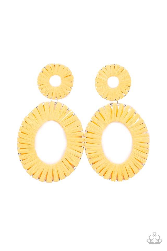 Foxy Flamenco - Yellow - Paparazzi Earring Image