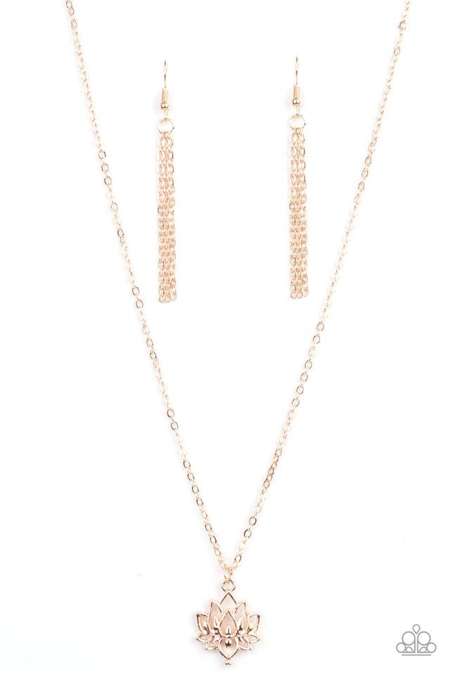 Lotus Retreat - Rose Gold - Paparazzi Necklace Image