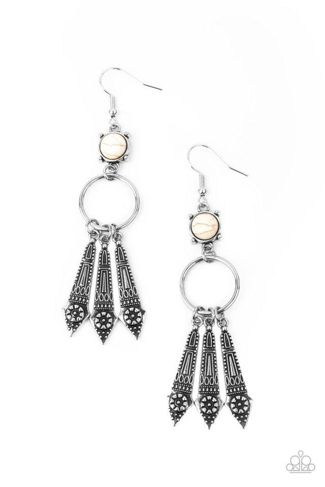 Prana Paradise - White - Paparazzi Earring Image