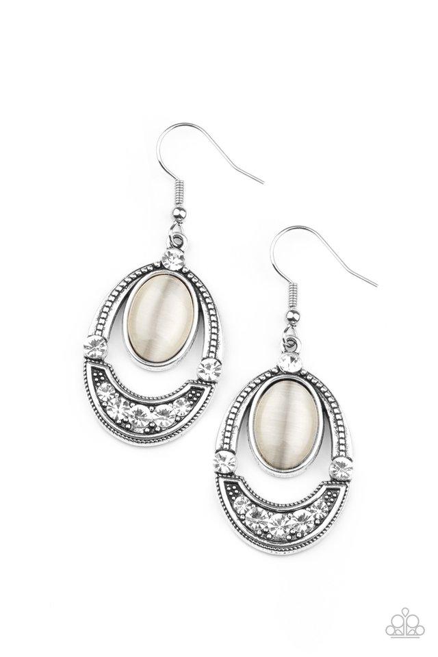 Serene Shimmer - White - Paparazzi Earring Image