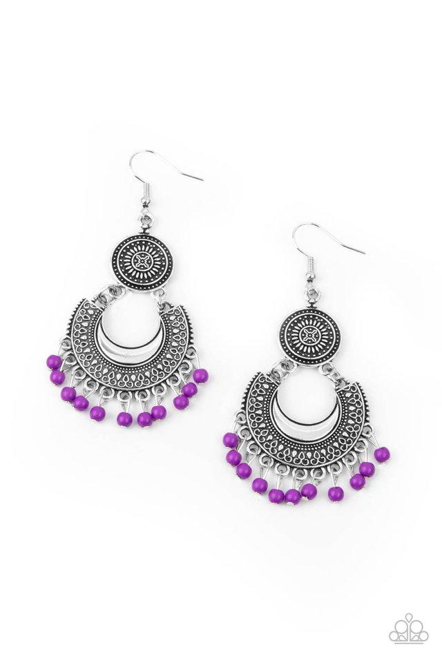 Yes I CANCUN - Purple - Paparazzi Earring Image