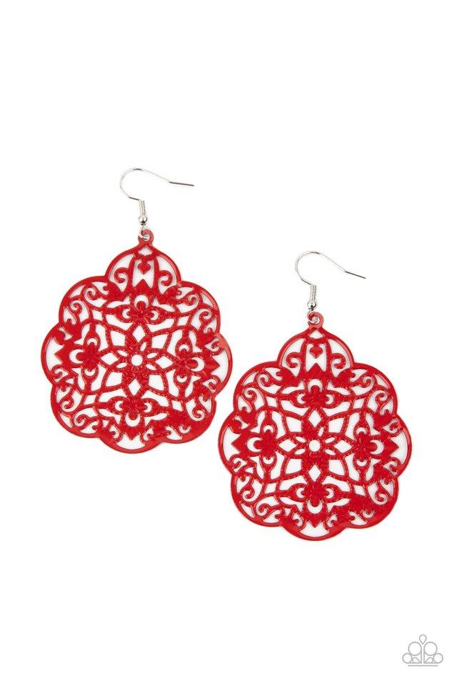 Mediterranean Eden - Red - Paparazzi Earring Image