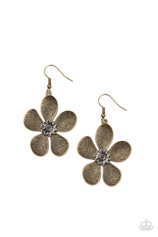 Fresh Florals - Brass - Paparazzi Earring Image
