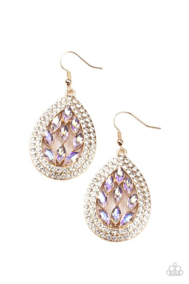 Encased Elegance - Gold - Paparazzi Earring Image