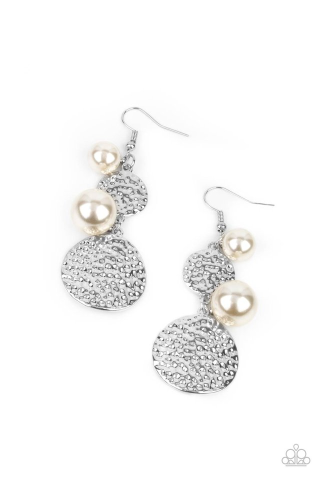 Pearl Dive - White - Paparazzi Earring Image