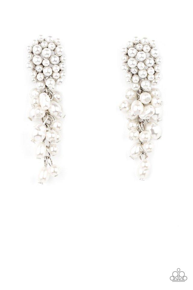 Fabulously Flattering - White - Paparazzi Earring Image