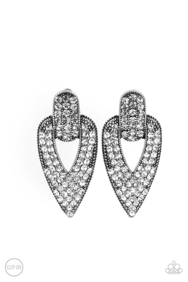 Blinged Out Buckles - White - Paparazzi Earring Image