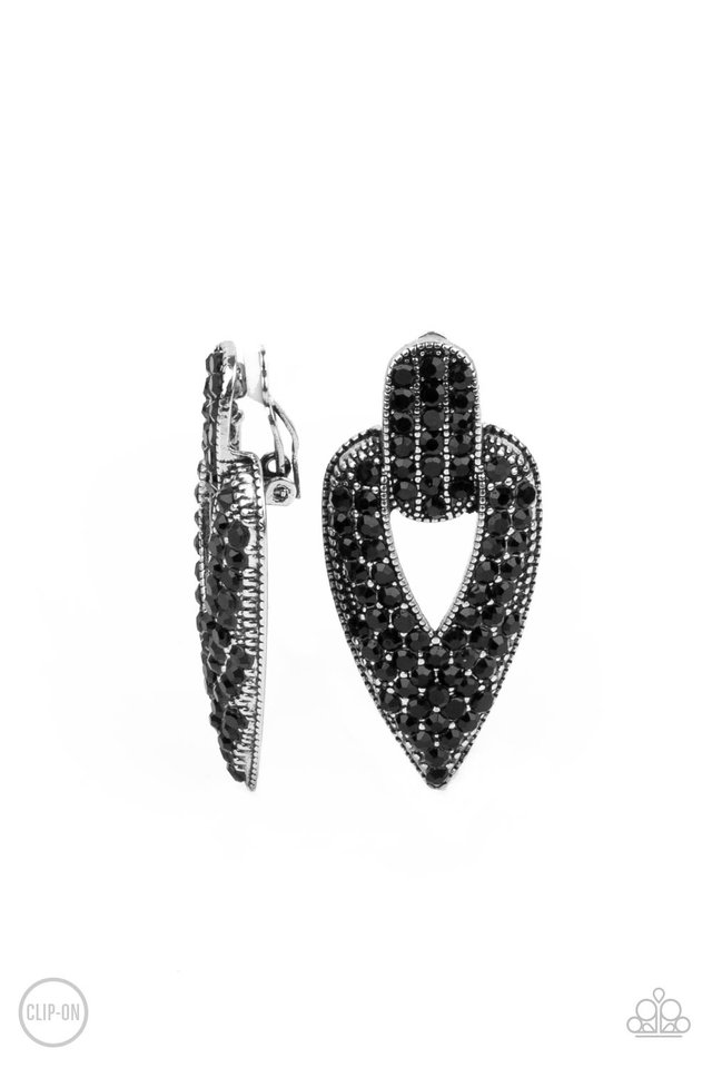 Blinged Out Buckles - Black - Paparazzi Earring Image