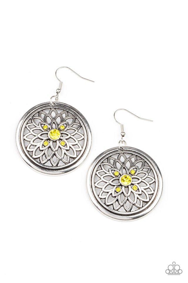 Mega Medallions - Yellow - Paparazzi Earring Image