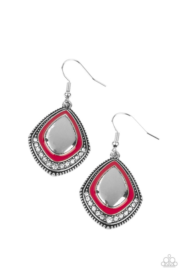 Fearlessly Feminine - Red - Paparazzi Earring Image
