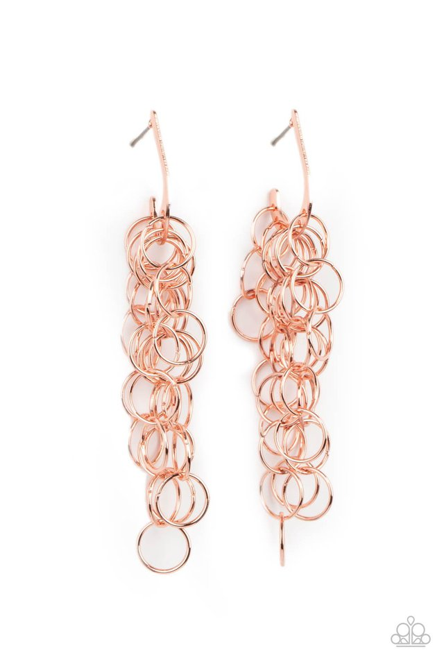 Long Live The Rebels - Copper - Paparazzi Earring Image
