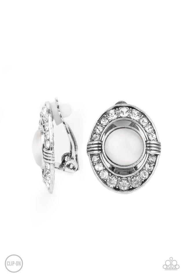 GLOW of Force - White - Paparazzi Earring Image
