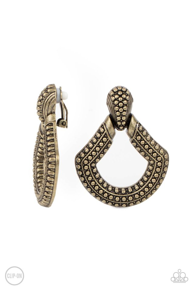 Better Buckle Up - Brass - Paparazzi Earring Image