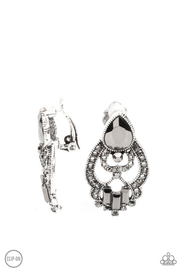 Glamour Gauntlet - Silver - Paparazzi Earring Image