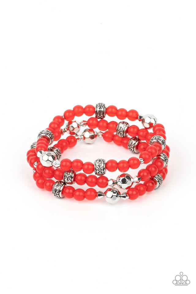 Here to STAYCATION - Red - Paparazzi Bracelet Image