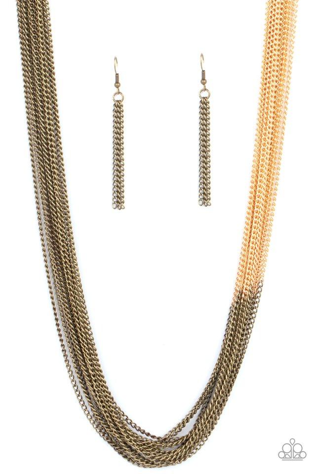 Metallic Merger - Brass - Paparazzi Necklace Image