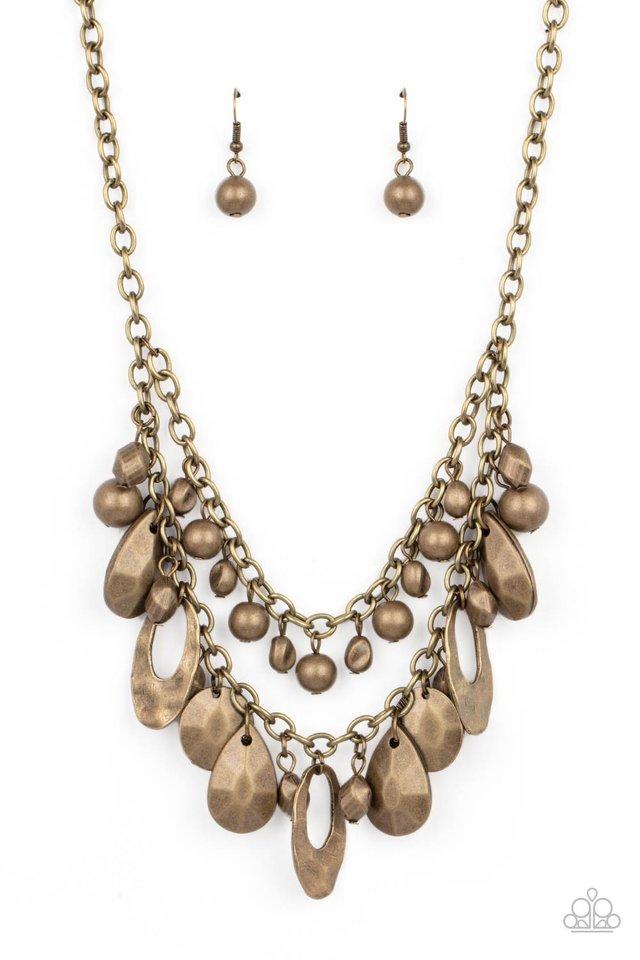 Extra Exhilarating - Brass - Paparazzi Necklace Image