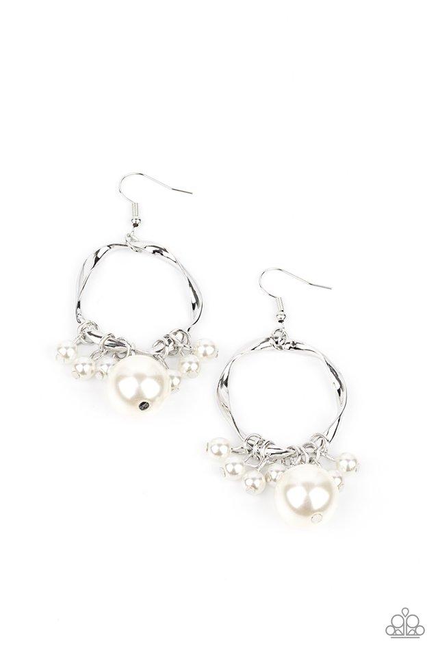 Delectably Diva - White - Paparazzi Earring Image