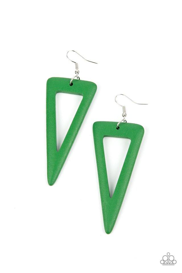 Bermuda Backpacker - Green - Paparazzi Earring Image