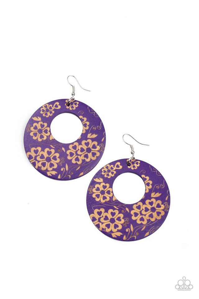 Galapagos Garden Party - Purple - Paparazzi Earring Image