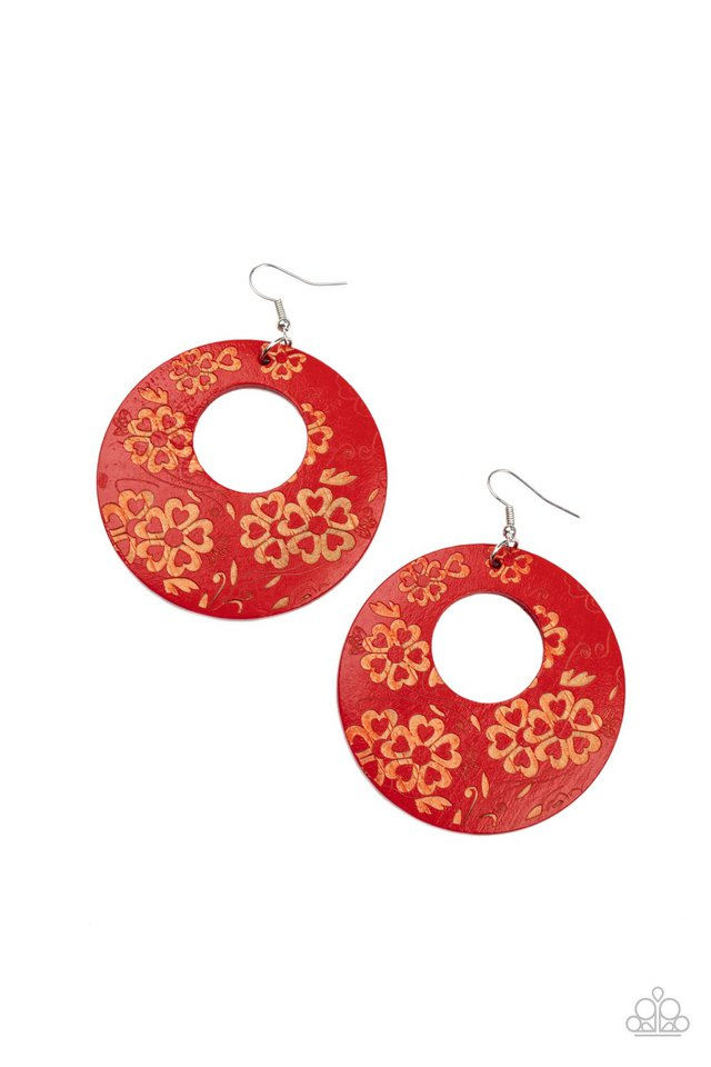 Galapagos Garden Party - Red - Paparazzi Earring Image