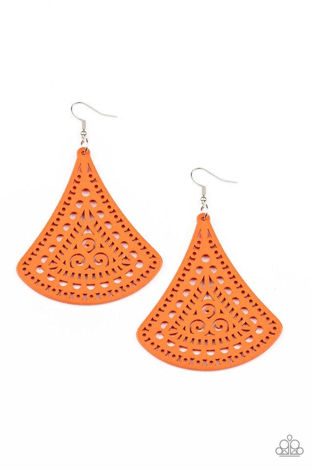 FAN to FAN - Orange - Paparazzi Earring Image