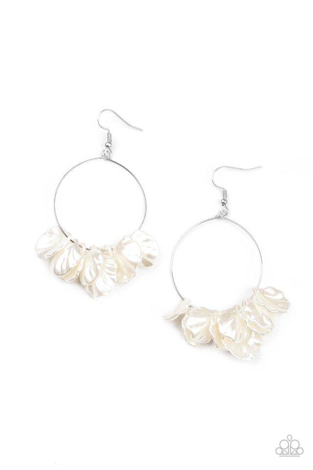 Sailboats and Seashells - White - Paparazzi Earring Image