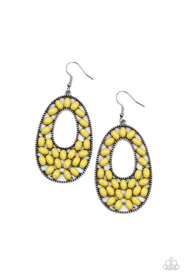 Beaded Shores - Yellow - Paparazzi Earring Image