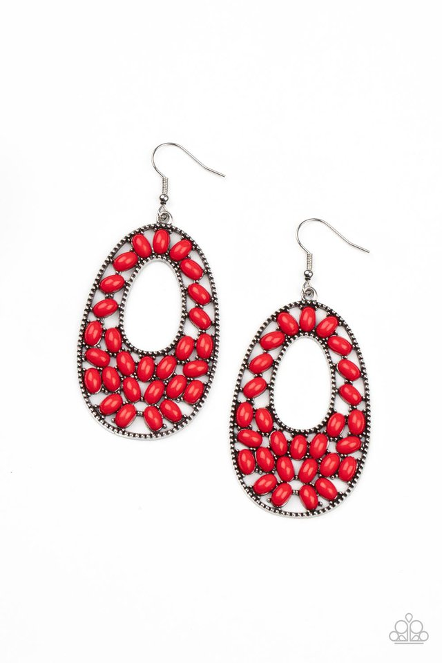 Beaded Shores - Red - Paparazzi Earring Image
