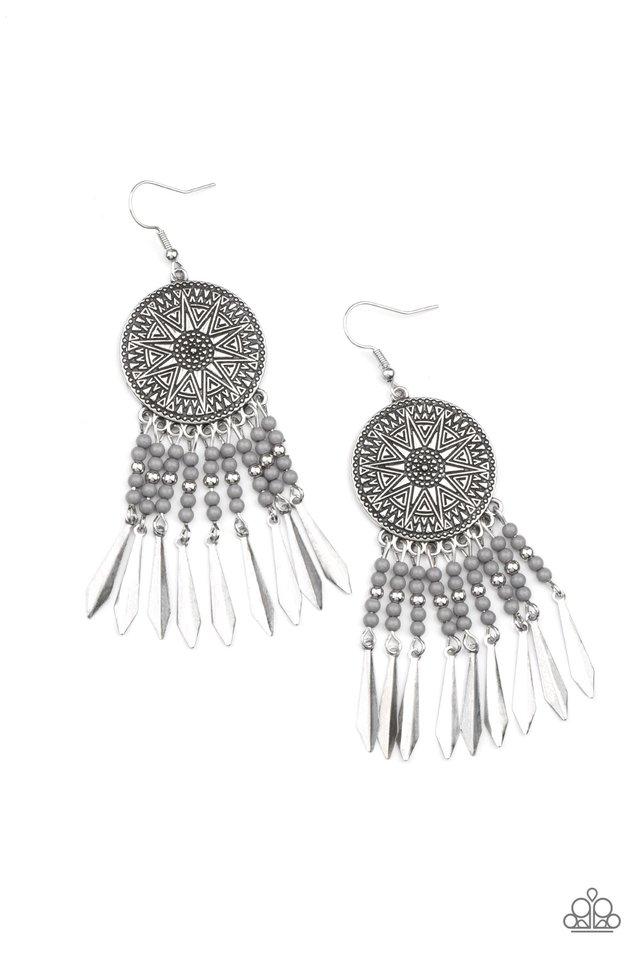 Sun Warrior - Silver - Paparazzi Earring Image