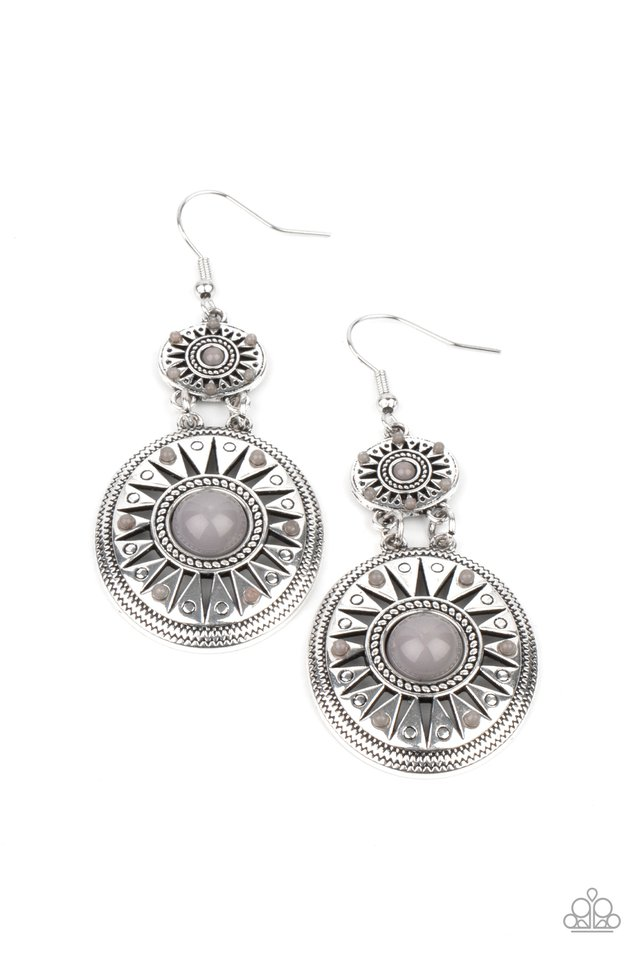 Temple of The Sun - Silver - Paparazzi Earring Image
