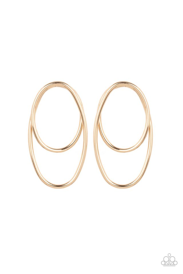 So OVAL-Dramatic - Gold - Paparazzi Earring Image