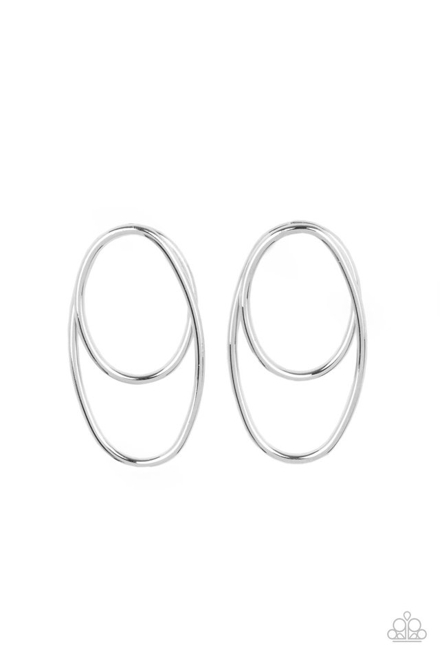 So OVAL-Dramatic - Silver - Paparazzi Earring Image