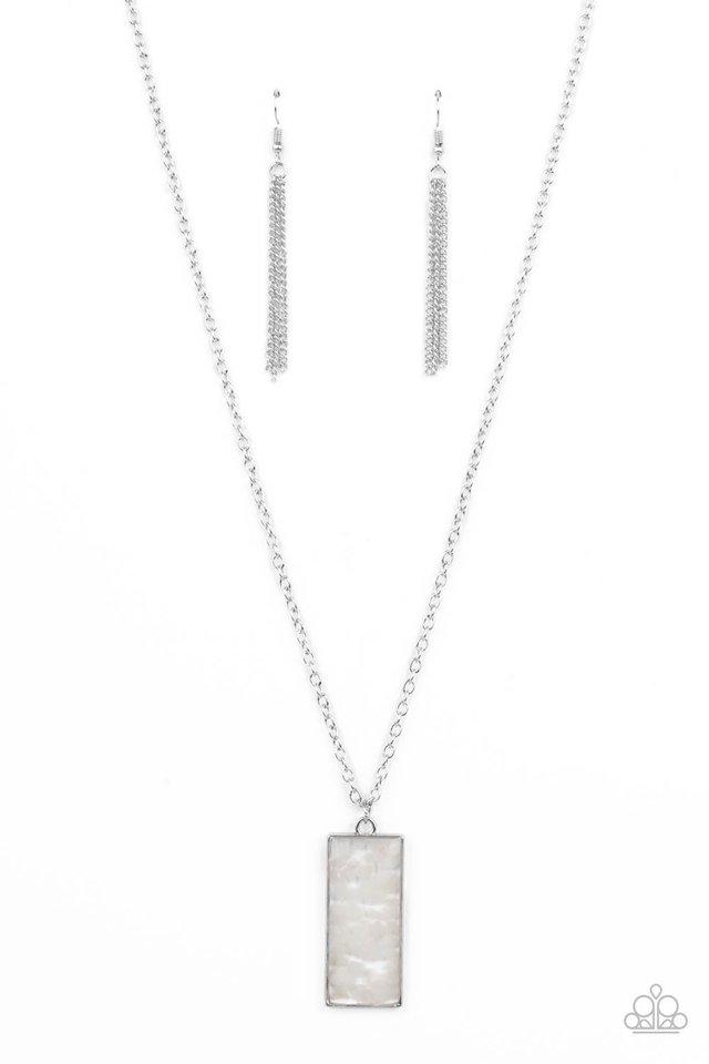 Retro Rock Collection - White - Paparazzi Necklace Image