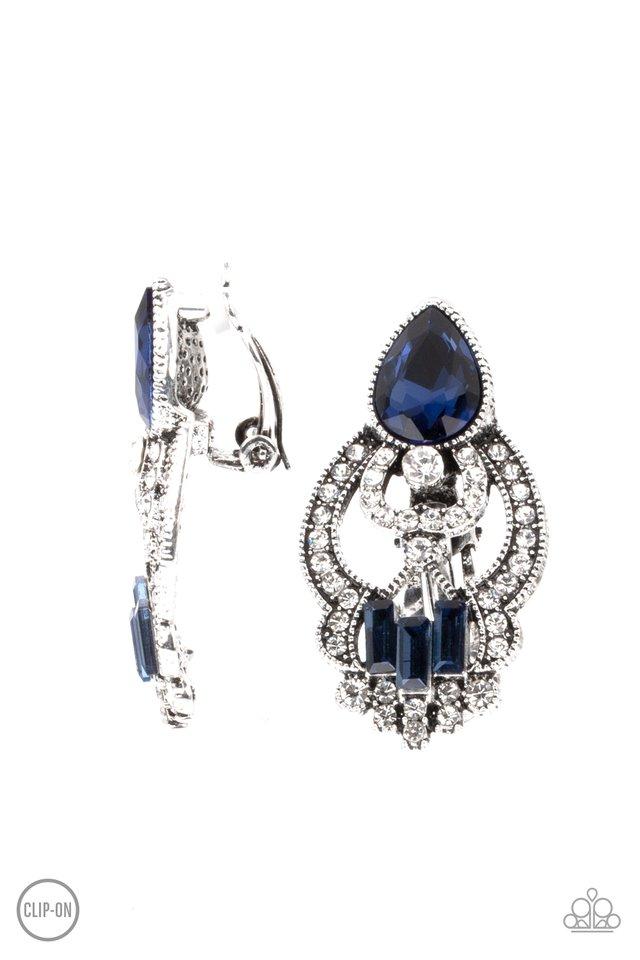 Glamour Gauntlet - Blue - Paparazzi Earring Image
