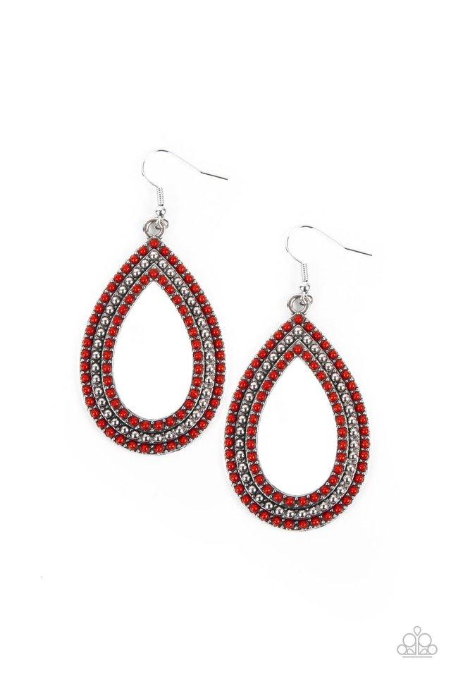 Tear Tracks - Red - Paparazzi Earring Image
