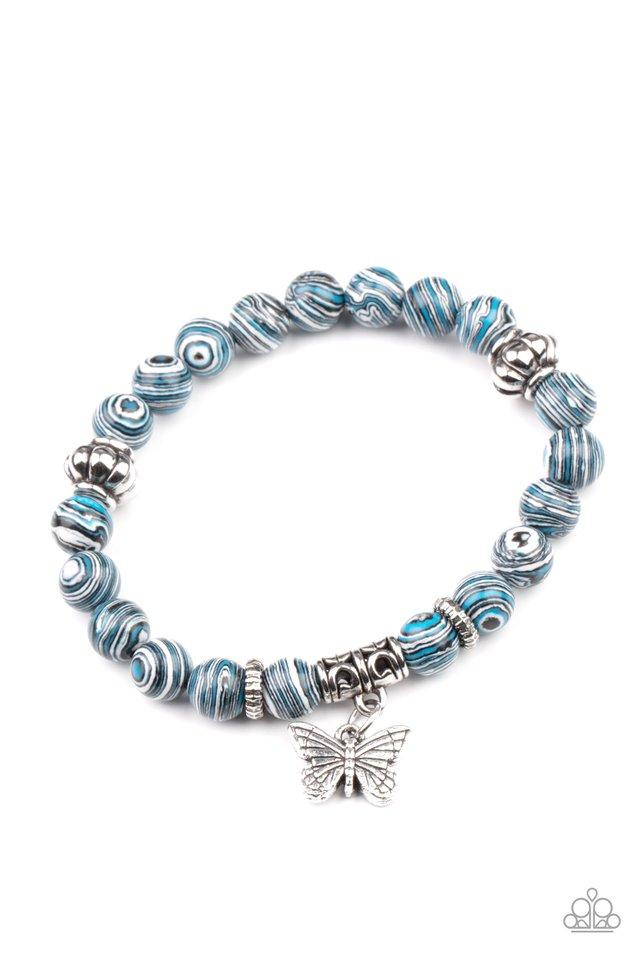 Butterfly Wishes - Blue - Paparazzi Bracelet Image