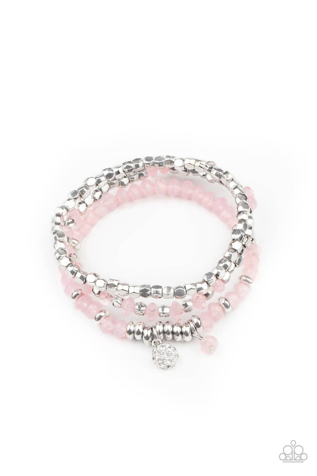 Glacial Glimmer - Pink - Paparazzi Bracelet Image