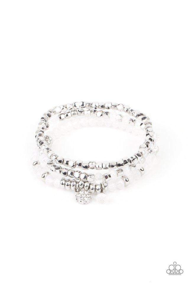 Glacial Glimmer - White - Paparazzi Bracelet Image