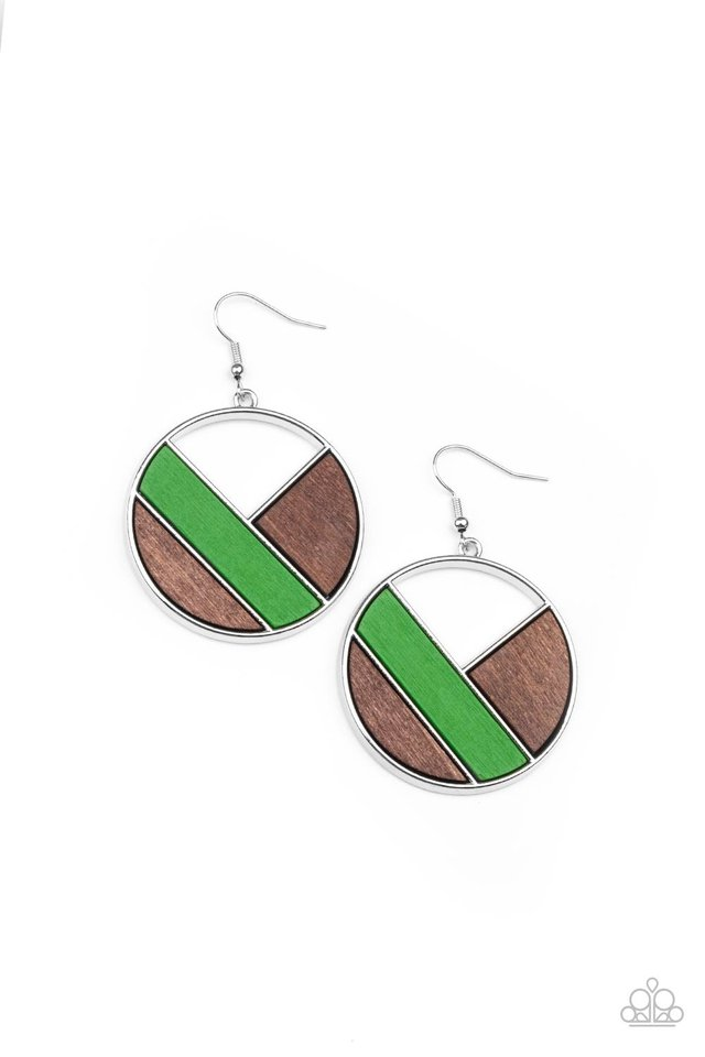 Dont Be MODest - Green - Paparazzi Earring Image