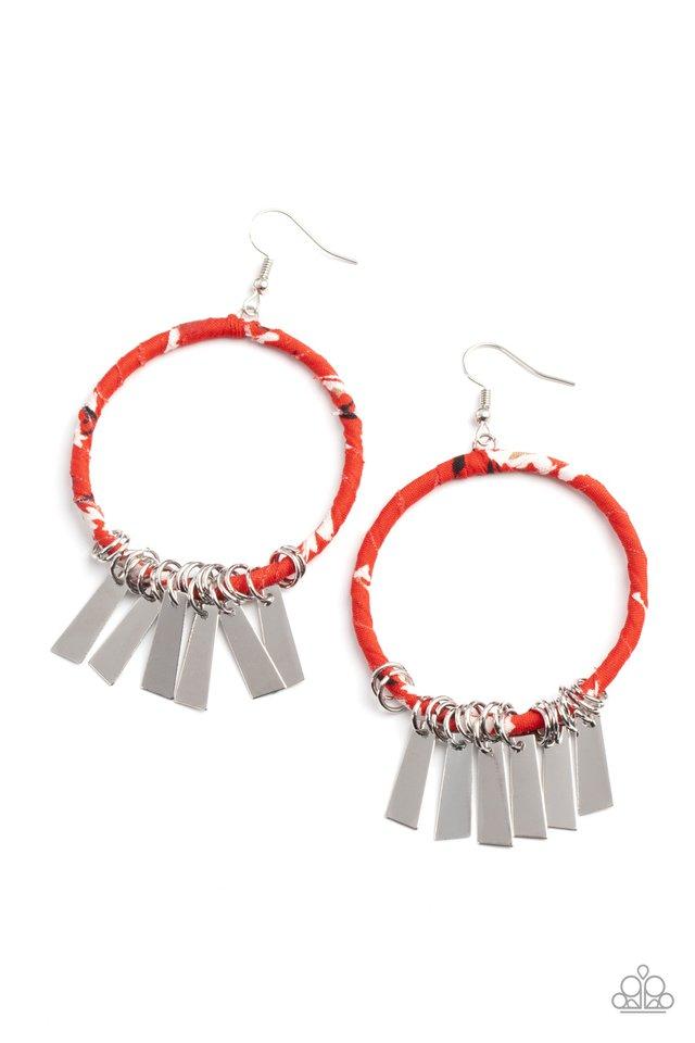 Garden Chimes - Red - Paparazzi Earring Image