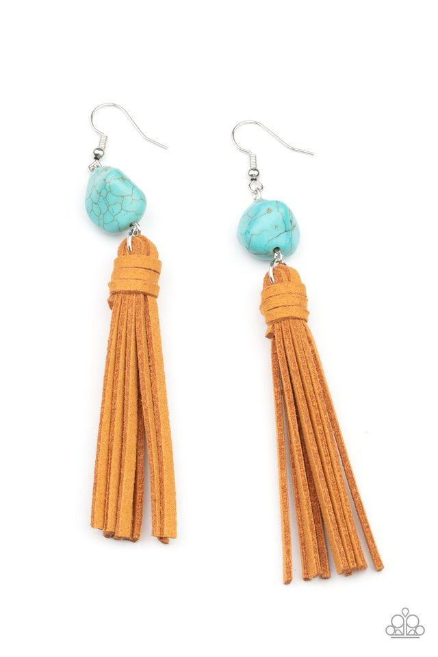 All-Natural Allure - Blue - Paparazzi Earring Image