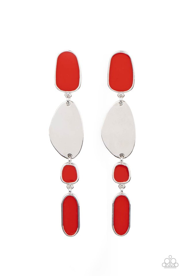 Deco By Design - Red - Paparazzi Earring Image